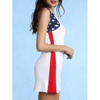 Trendy Sleeveless Scoop Neck Star Print Dress For Women - WHITE S