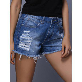 Buy Stylish High Waist Rippped Denim Paint Splat Women's Shorts DENIM BLUE