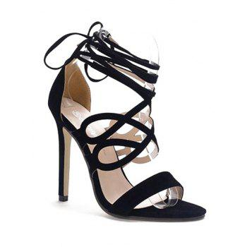 Trendy Lace-Up and Flock Design Sandals For Women