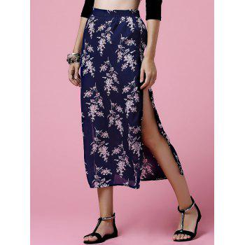 Ethnic Style Elastic Waist Tiny Flower Print Side Slit Midi Skirt For Women