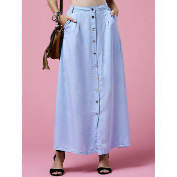 Stylish High Neck Light Blue Denim Women's Skirt