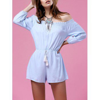 Stylish Off The Shoulder Pure Color Drawstring Women's Playsuit