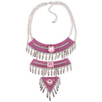 Multilayer Faux Gem Rhinestone Tassel Triangle Necklace - PINK