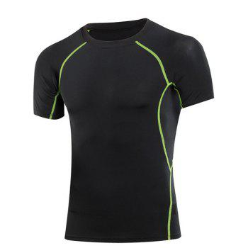 Elastic Solid Color Round Collar Gym T Shirt For Men