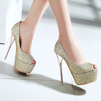 Stylish Sequined Cloth and Stiletto Heel Design Women's Peep Toe Shoes - GOLDEN 38