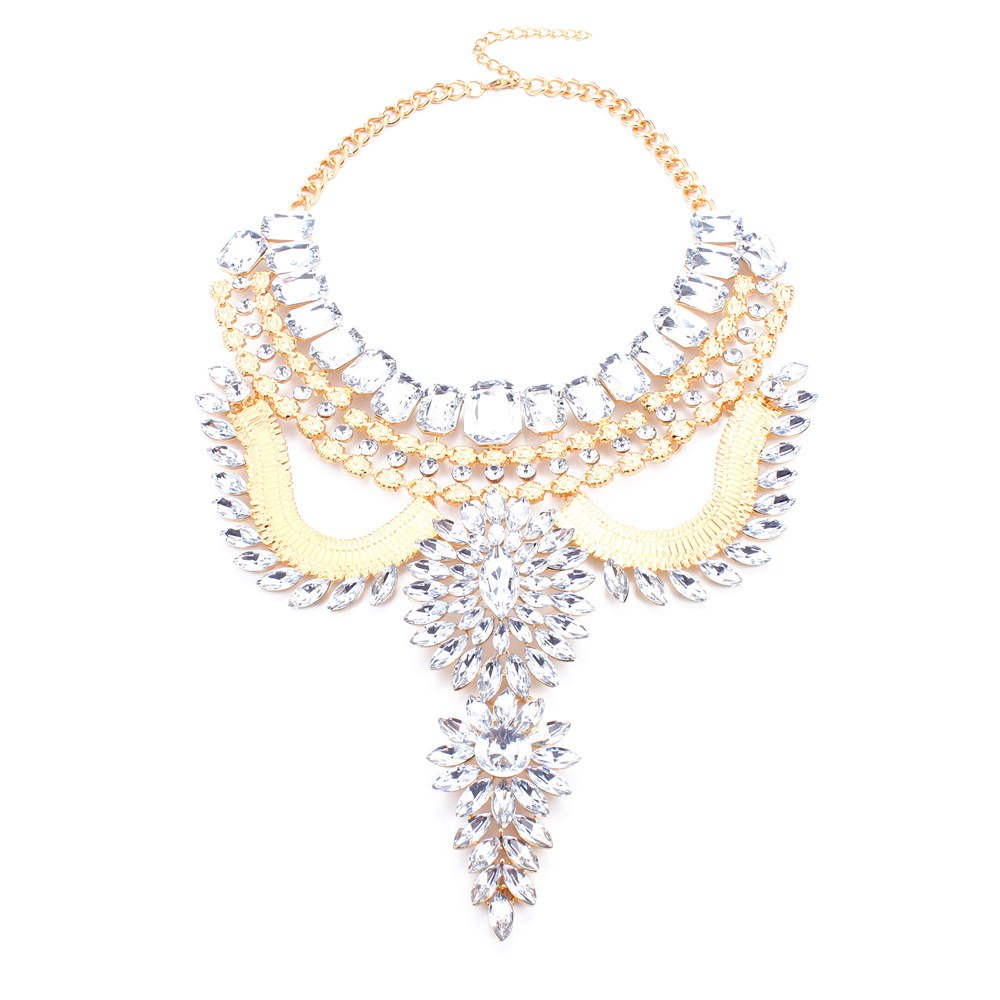 Exaggerated Geometric Rhinestone Artificial Gem Hollow Out Necklace For Women