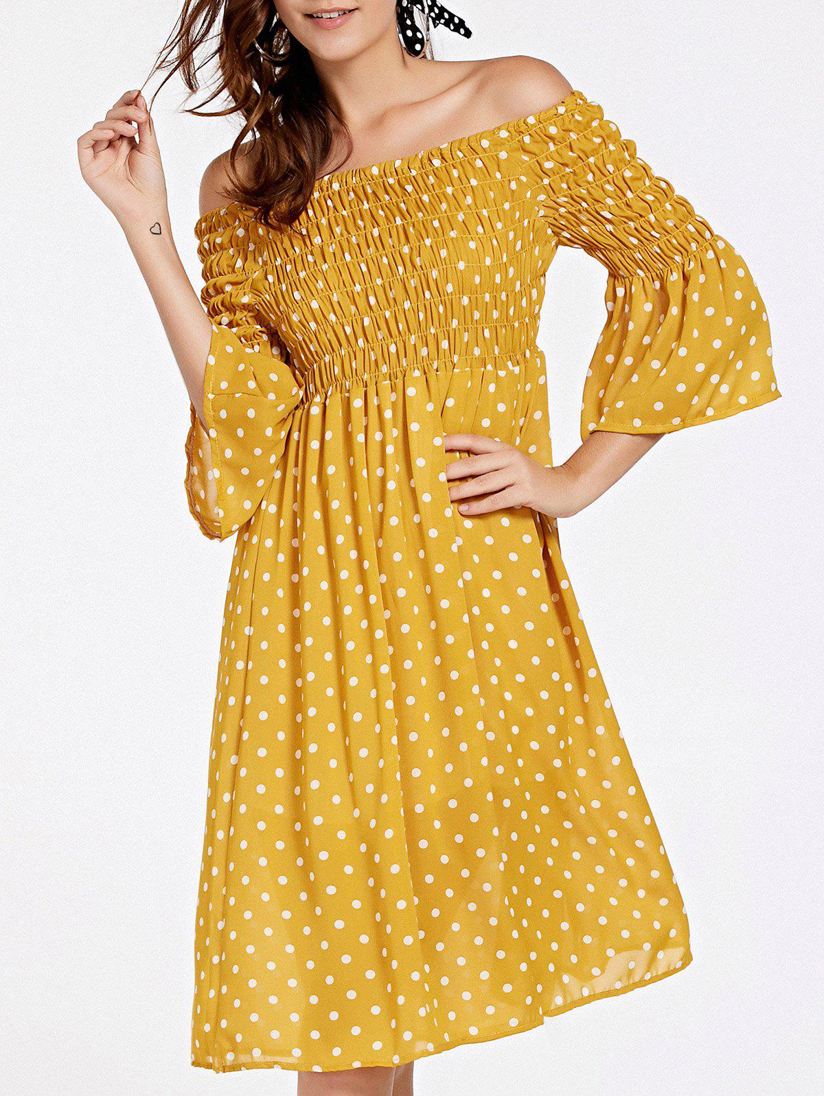Stylish Polka Dot 3/4 Sleeve Off-The-Shoulder Women's Dress - ONE SIZE(FIT SIZE XS TO M) YELLOW
