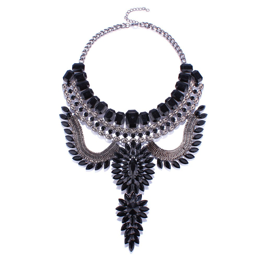 Punk Style Geometric Rhinestone Faux Gem Hollow Out Necklace For Women