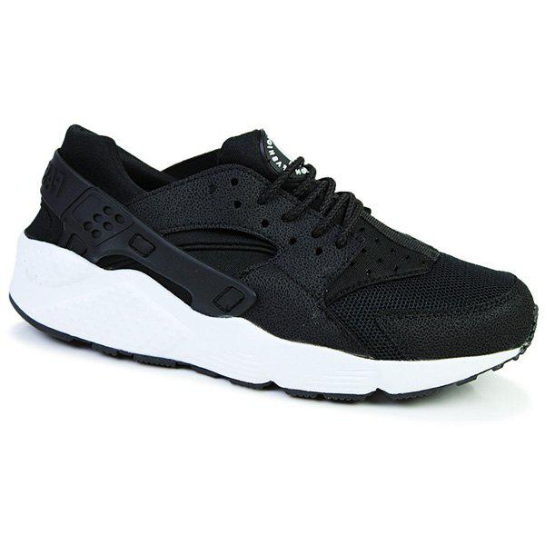 Fashionable Splicing and Lace-Up Design Men's Athletic Shoes - WHITE/BLACK 44