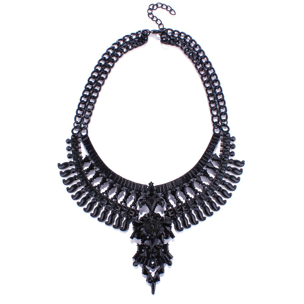 Geometric Double Layered Hollow Out Statement Necklace - BLACK