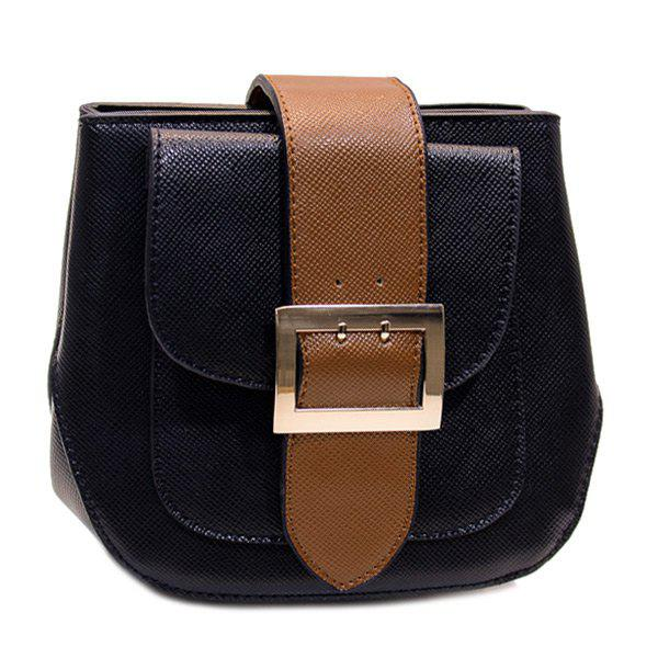 Trendy Buckle and Color Block Design Women's Crossbody Bag