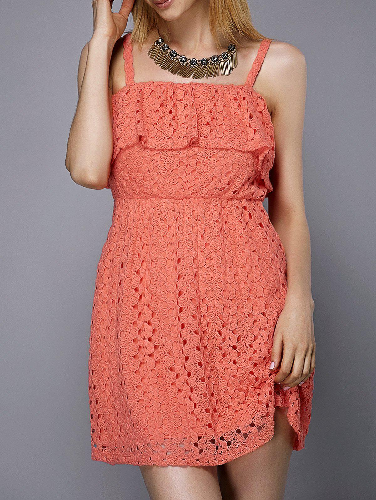 Trendy Spaghetti Strap Solid Color Flounce Hollow Out Women's Dress - ORANGEPINK L