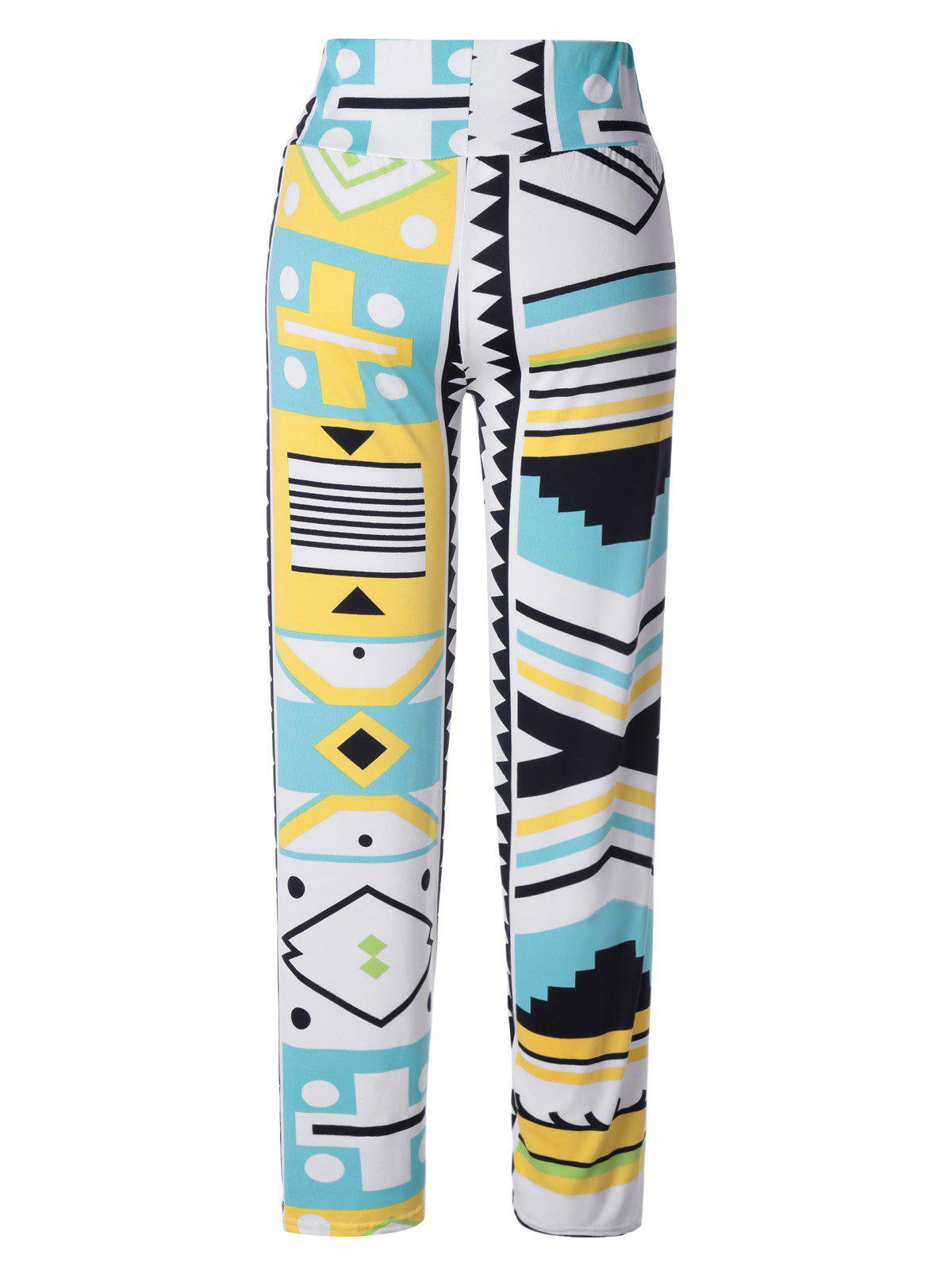 Stylish Women's Elastic Waist Multi Pattern Print Pants - WHITE / BLACK / YELLOW ONE SIZE(FIT SIZE XS TO M)