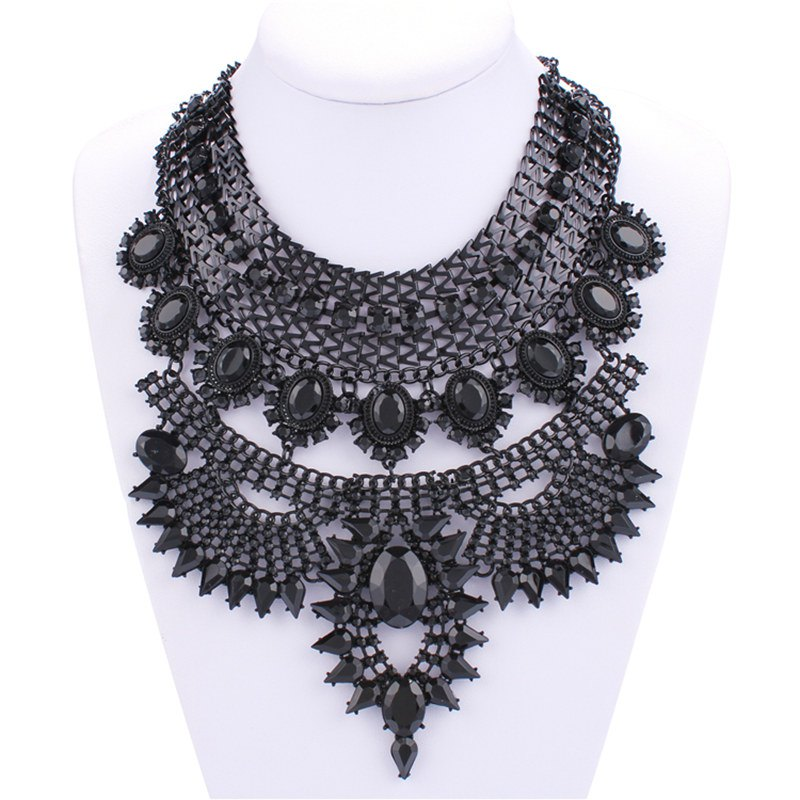 Punk Style Solid Color Hollow Out Rhinestone Alloy Choker Necklace For Women