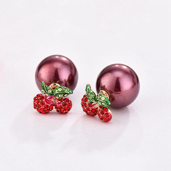 Pair of Cherry Rhinestoned Faux Pearl Stud Earrings - RED