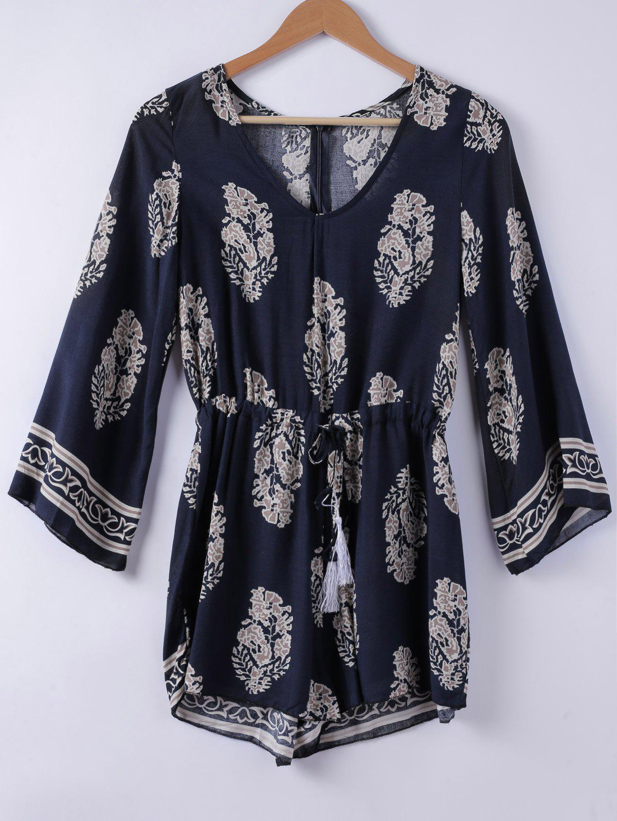 Ethnic Style Women's V-Neck 3/4 Sleeve Printed Romper - PURPLISH BLUE L