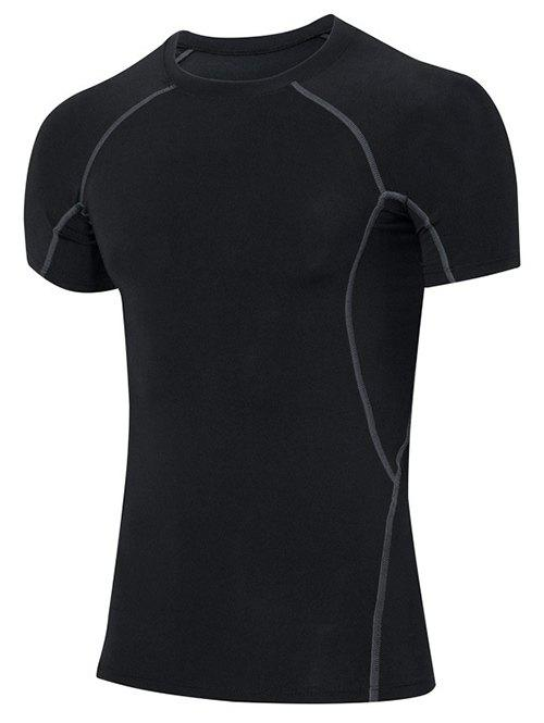 Men's Slimming Elastic Solid Color Round Collar Gym T-Shirt - BLACK M