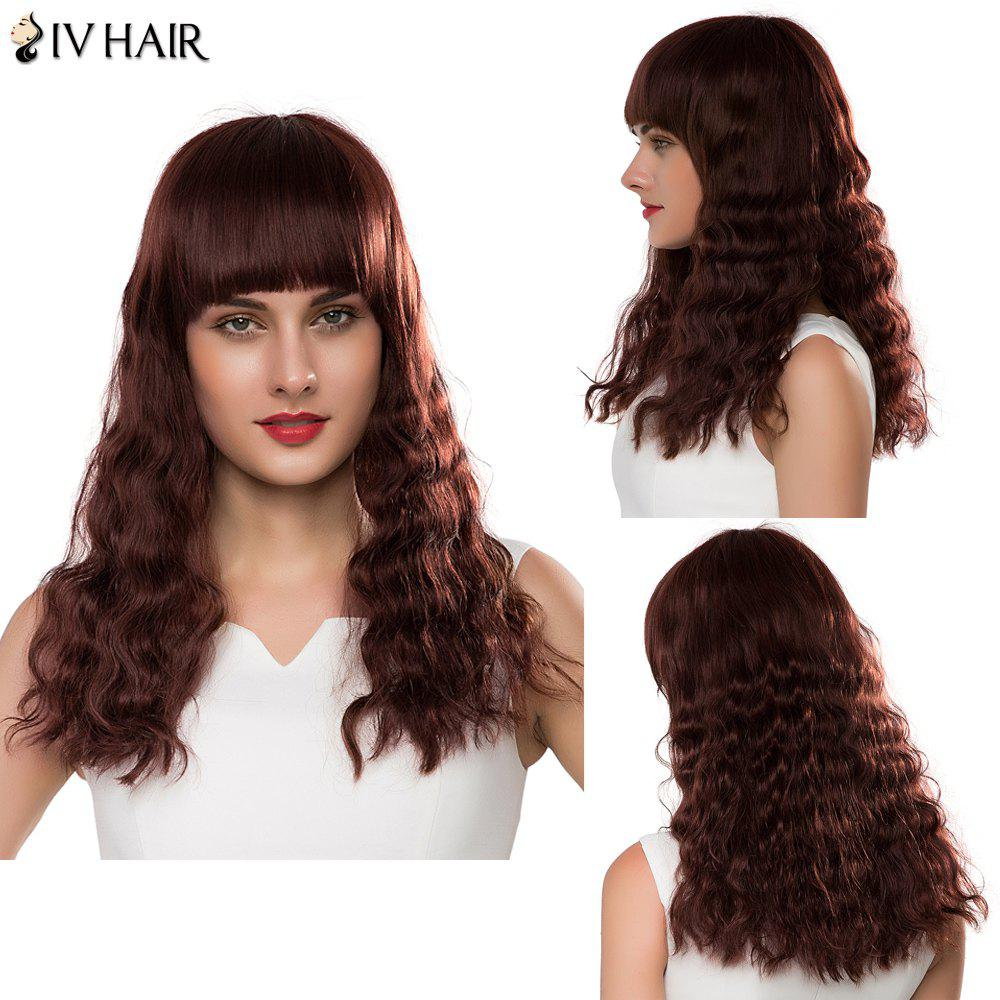 Stunning Full Bang Siv Hair Capless Shaggy Curly Long Women's Human Hair Wig - DARK AUBURN BROWN