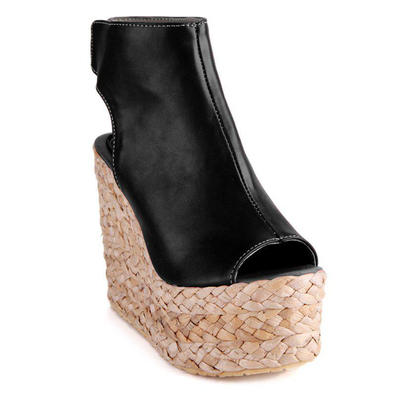 Trendy  and Weaving Design Women's Peep Toe Shoes
