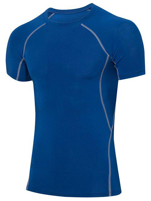Men's Slimming Elastic Solid Color Round Collar Gym T-Shirt - BLUE M