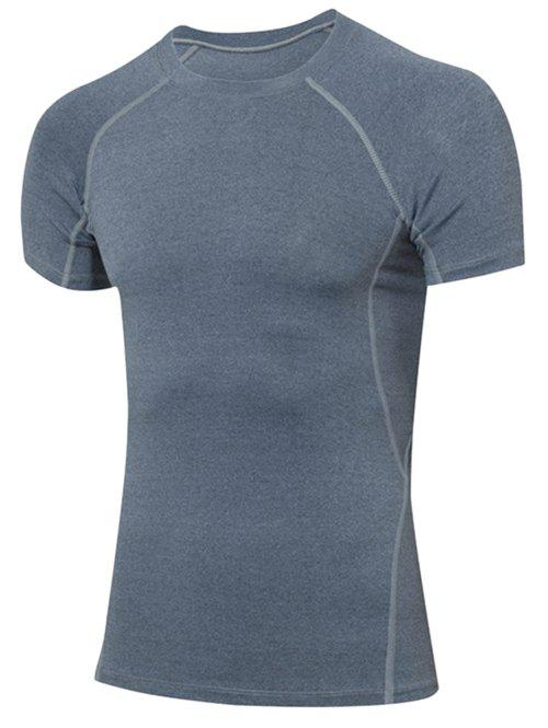 Slimming Elastic Solide Couleur Col rond T-Shirt Men 's  Gym - gris S