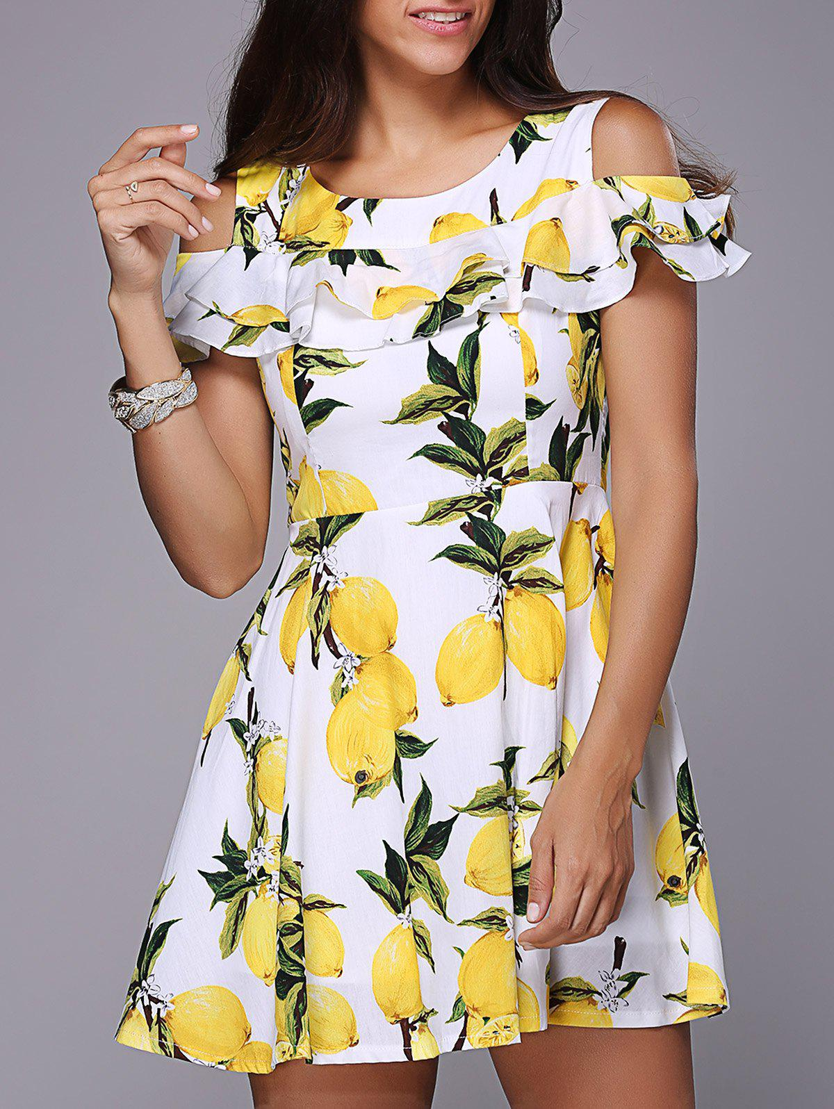 Stylish Women's Short Sleeve Lemon Print Flounced Hollow Out Dress - WHITE 2XL