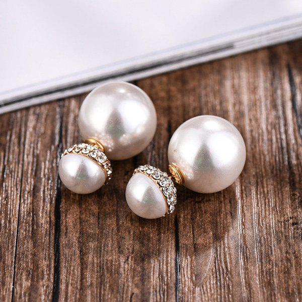 Pair of Faux Pearl Double End Rhinestone Embellished Earrings - GOLDEN