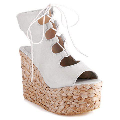 Fashionable Weaving and Lace-Up Design Women's Sandals - WHITE 42