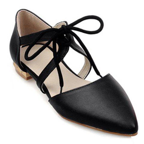 Stylish Solid Colour and Lacing Design Women's Flat Shoes - BLACK 39