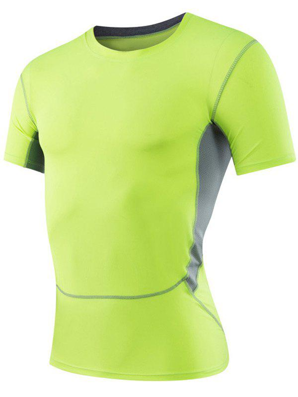 Tight fitting round neck short sleeve qick dry sports for Bright green t shirt dress