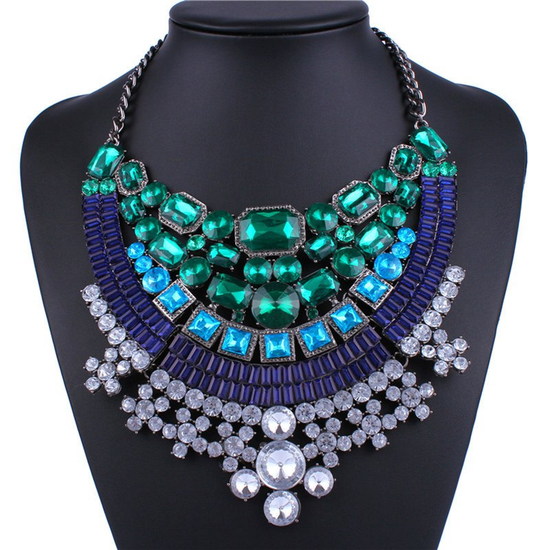 Geometric Faux Gem Rhinestone Necklace - SILVER
