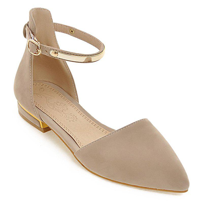 Fashion Flock and Metal Design Women's Flat Shoes - APRICOT 41