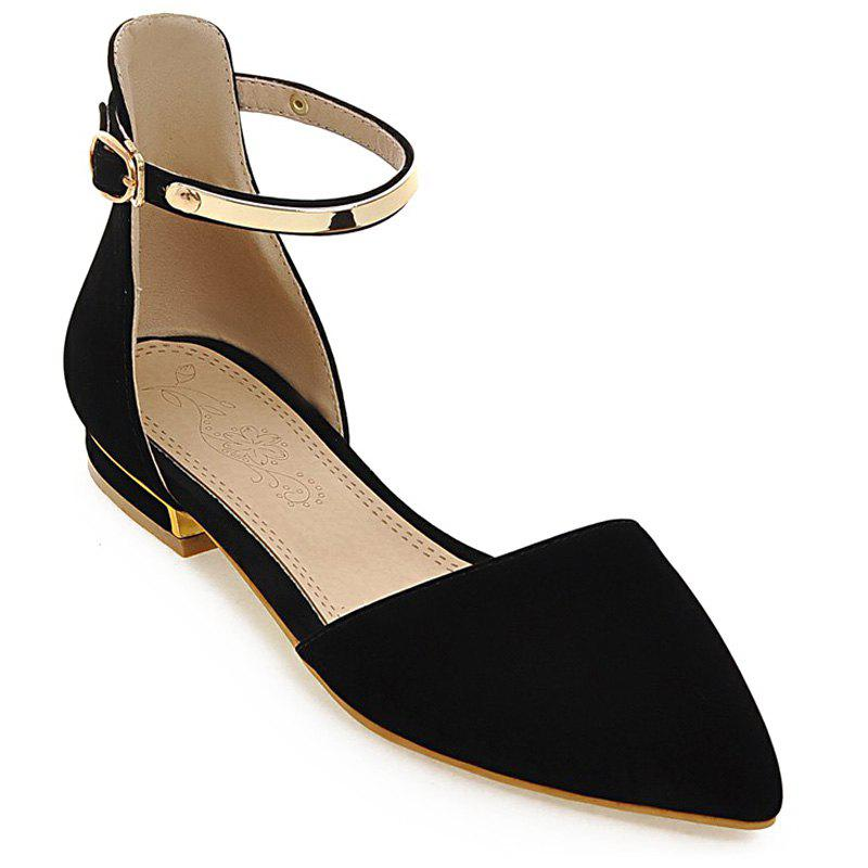 Fashion Flock and Metal Design Women's Flat Shoes - BLACK 38