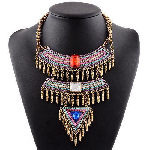 Multilayer Faux Gem Rhinestone Tassel Triangle Necklace - COLORMIX