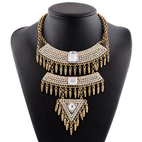 Multilayer Faux Gem Rhinestone Tassel Triangle Necklace - YELLOW