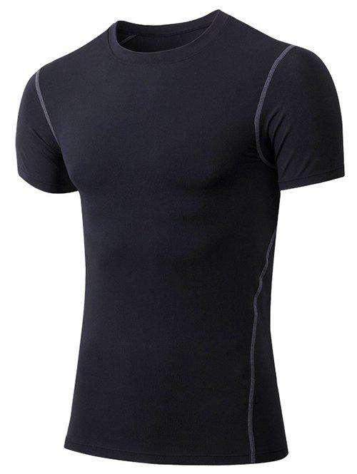 Slimming Elastic Round Collar Gym T-Shirt For Men - BLACK L