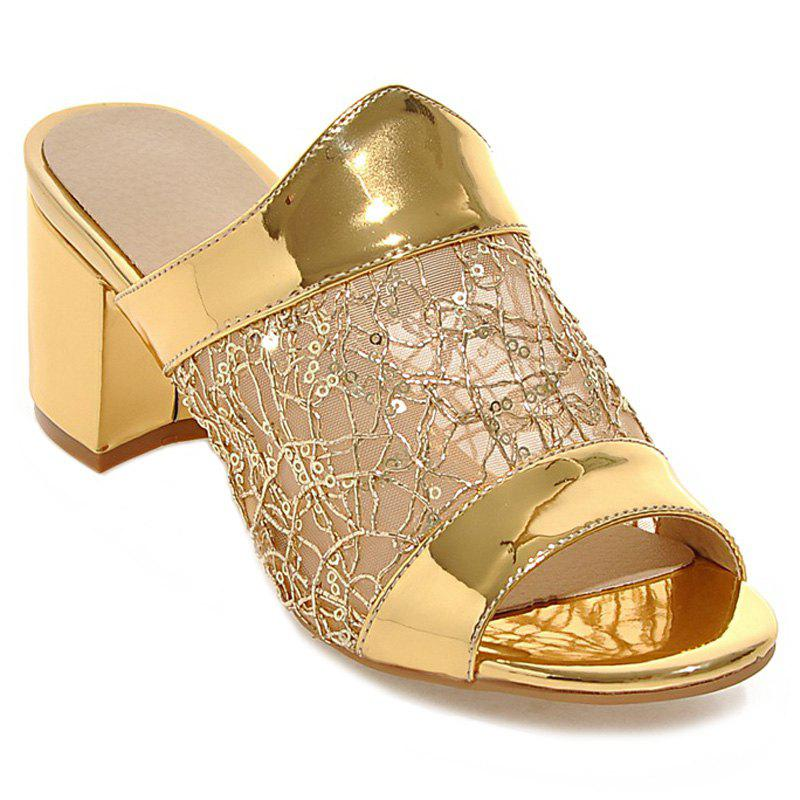 Stylish Metal Color and Mesh Design Women's Slippers - GOLDEN 37