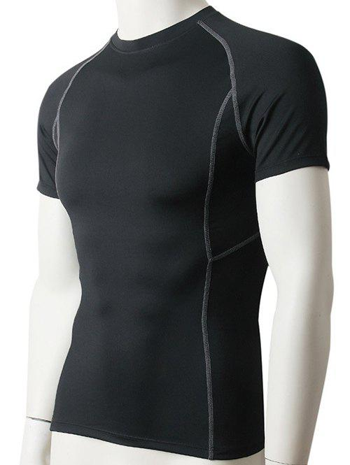 Slimming Compression Elastic Round Collar Gym T-Shirt For Men - BLACK M