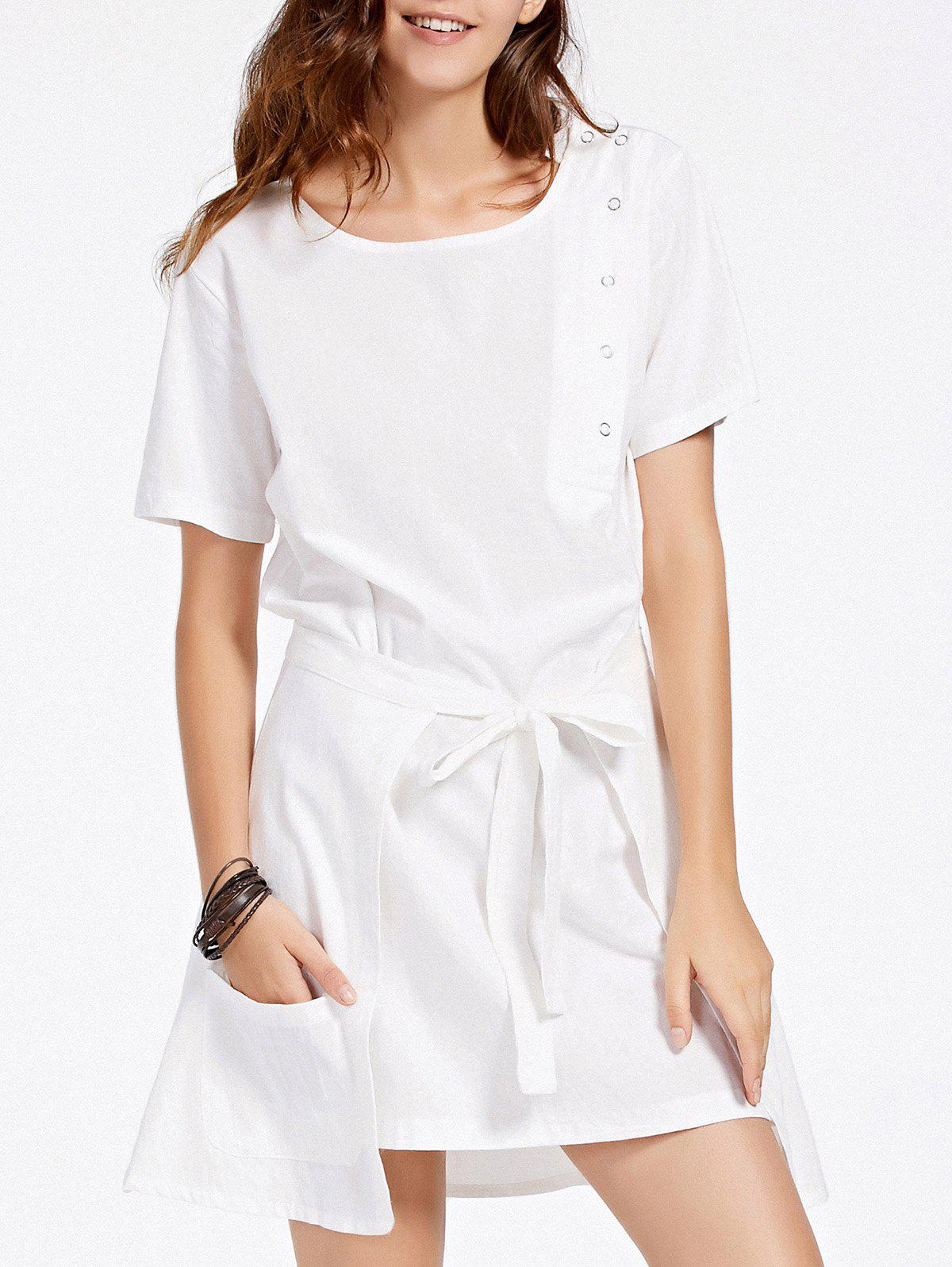 Stylish Women's Short Sleeve Dress + Self-Tie Cover Up Twinset