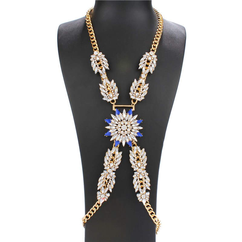 Graceful Faux Sapphire Rhinestone Gold Plated X-Shape Body Chain For Women - BLUE