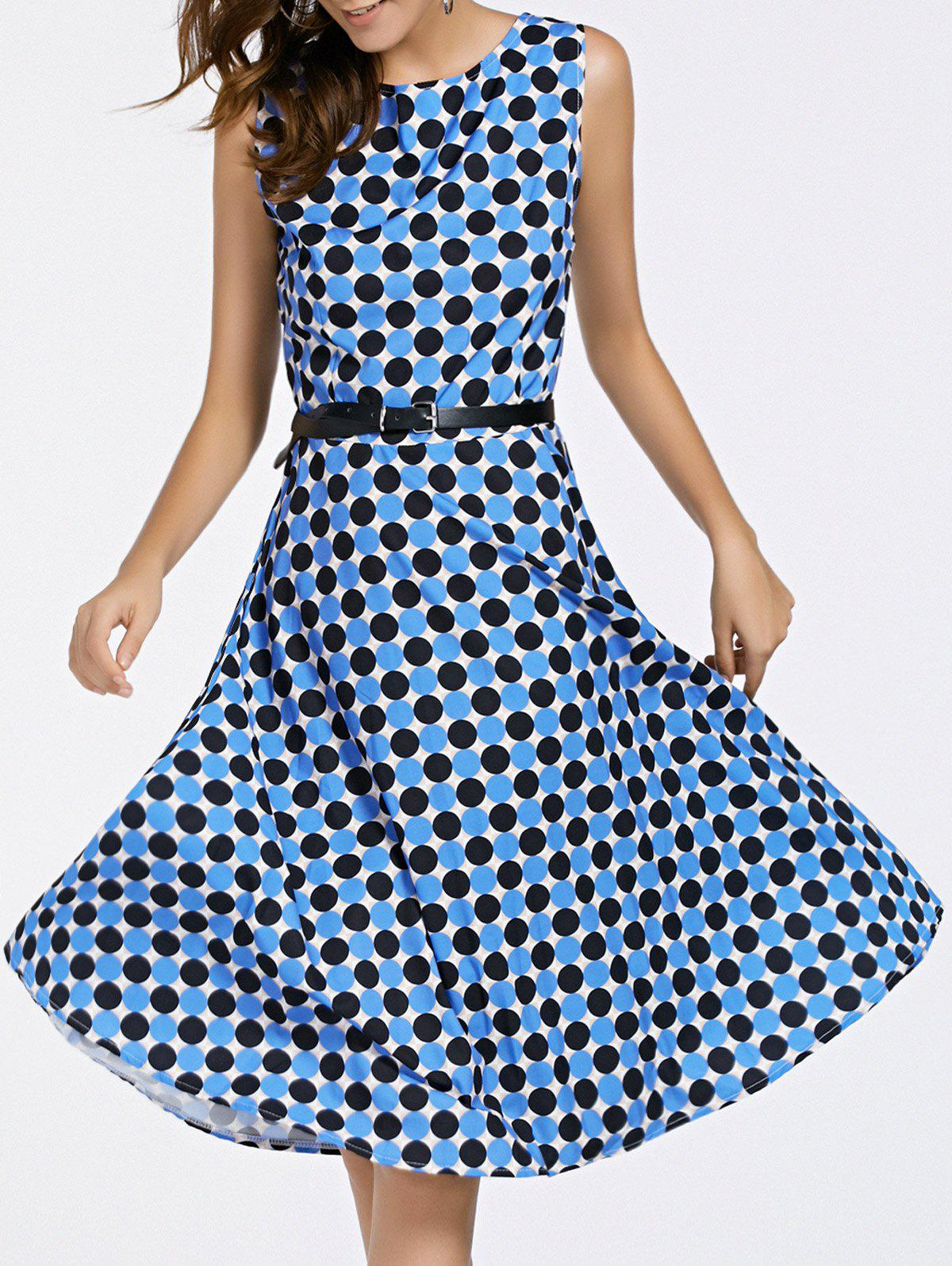 Retro Round Neck Sleeveless Polka Dot Print Women's Waist Slimming Dress - BLUE XL