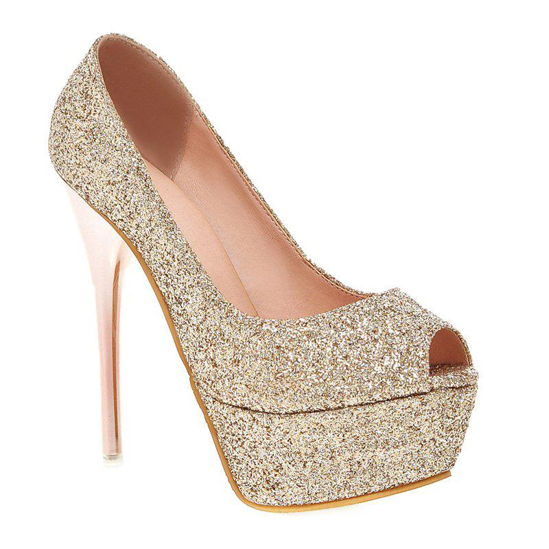 Stylish Sequined Cloth and Stiletto Heel Design Women's Peep Toe Shoes - GOLDEN 37