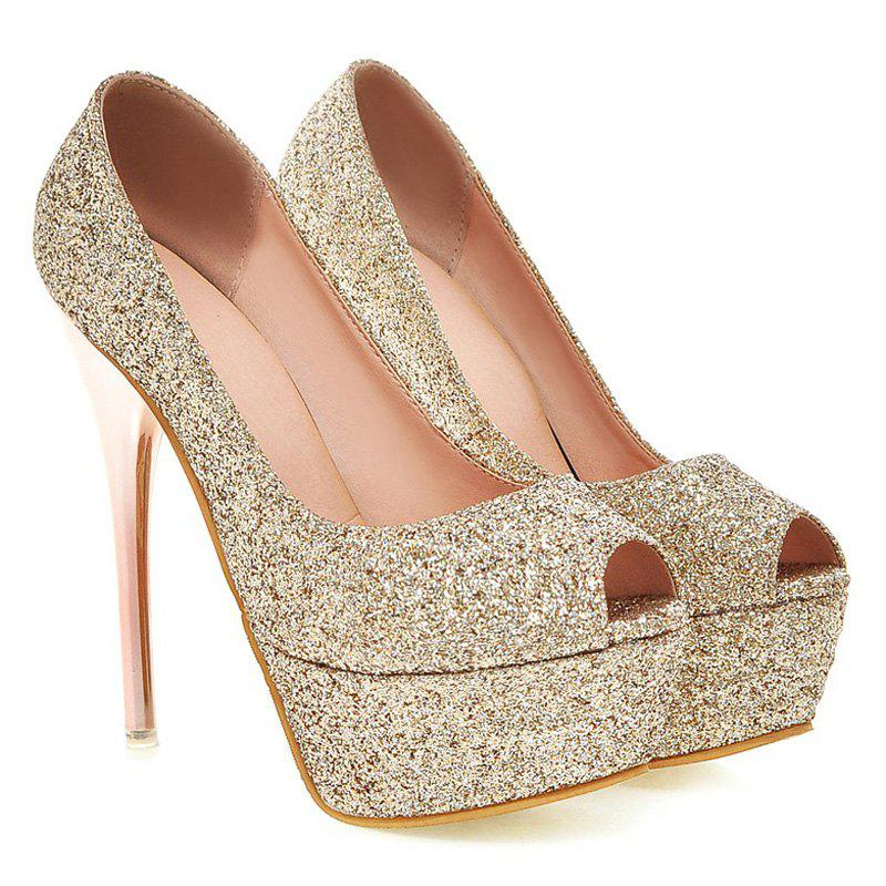 Stylish Sequined Cloth and Stiletto Heel Design Women's Peep Toe Shoes - GOLDEN 42