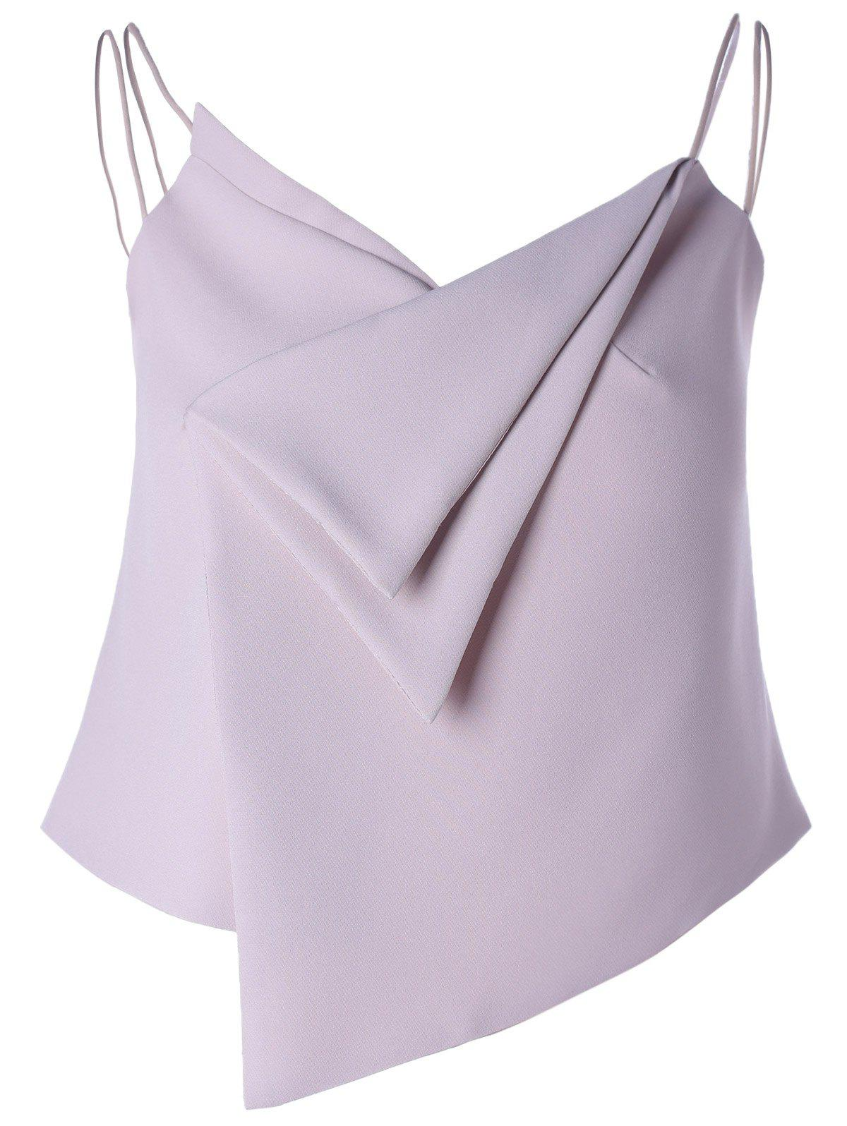 Stylish Women's V-Neck Spaghetti Strap Solid Color Asymmetric Crop Top - PALE PINKISH GREY M