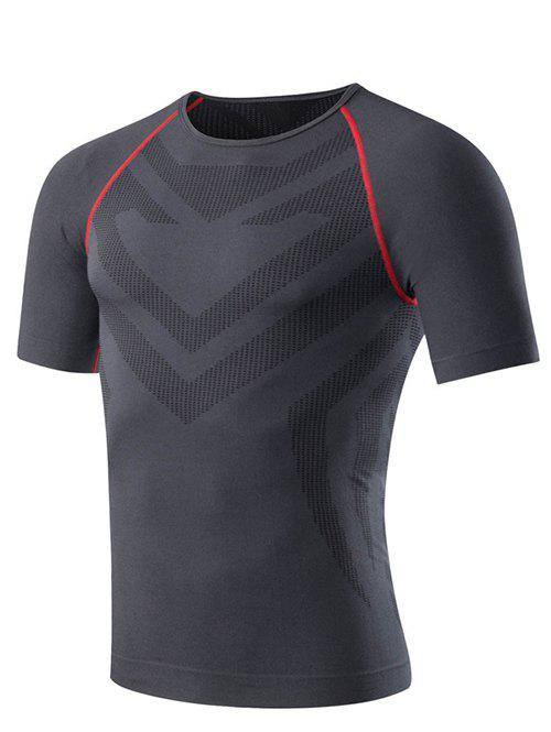 Slim Fit Round Neck Compression Elastic Gym T-Shirt For Men - XL GRAY