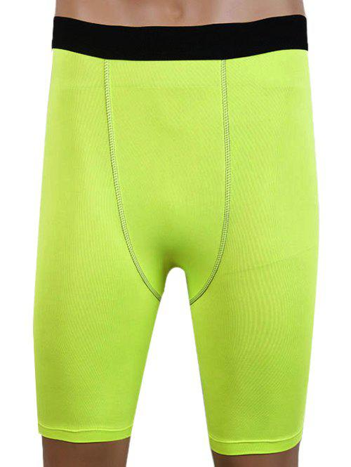 Slim Fit Round Neck Compression Elastic Gym Shorts For Men - NEON GREEN M