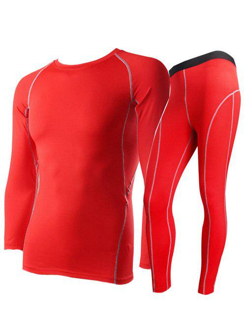 Fitted Quick-Dry Round Neck Short Sleeve Training Men's Sport Suit ( T-Shirt + Pants ) - RED S