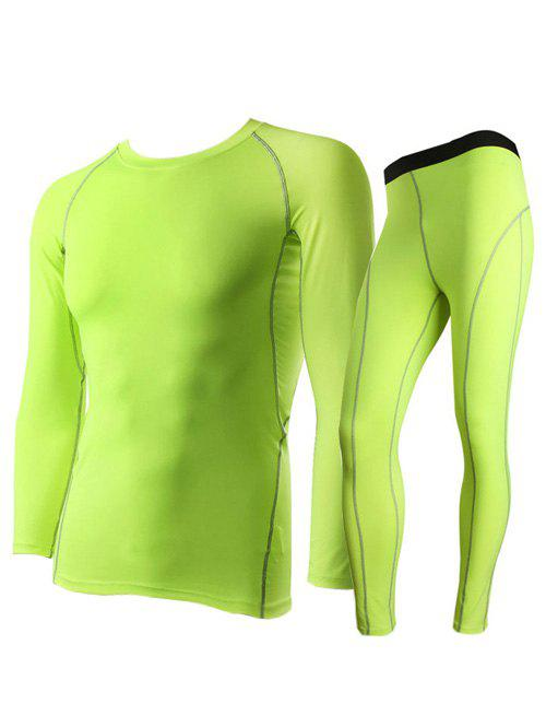 Fitted Quick-Dry Round Neck Short Sleeve Training Men's Sport Suit ( T-Shirt + Pants ) - NEON GREEN L