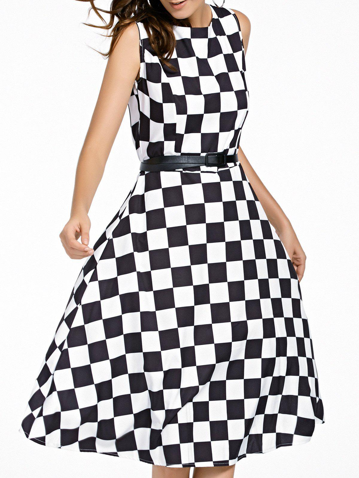 Retro Style Jewel Neck Checked Pattern Sleeveless Women's Dress