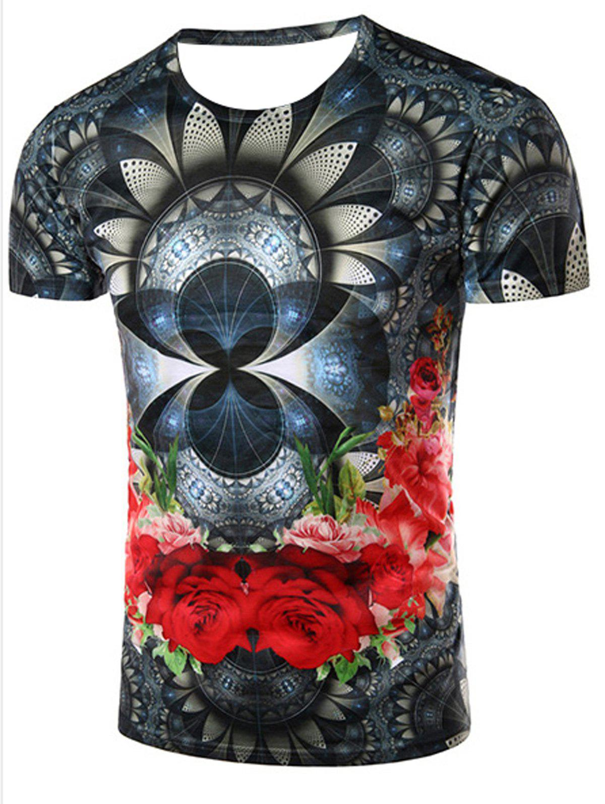 Slimming Flower Printing Pullover T-Shirt For Men - COLORMIX XL